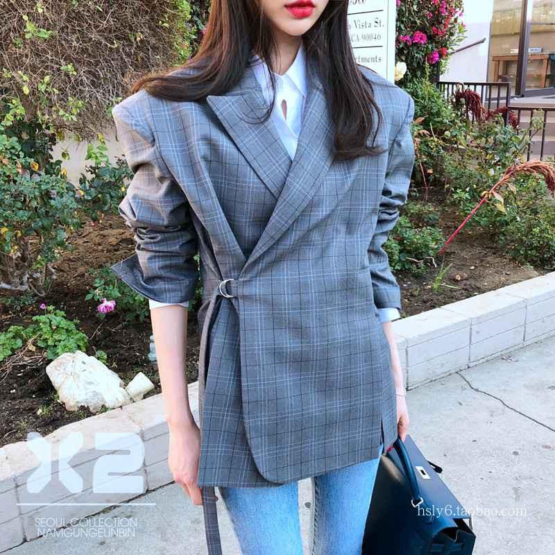 韩国东大门进口女装 2018春季新款 X2 拼色翻领开叉系带西装外套