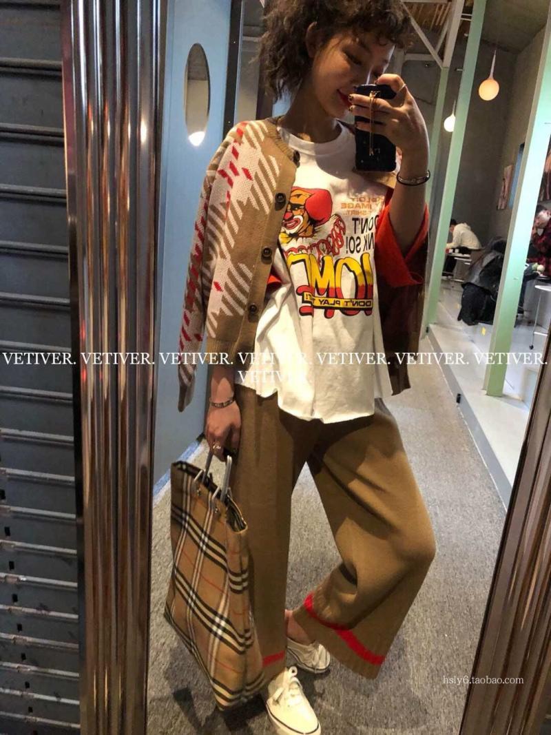 韩国东大门进口女装 2018春季新款 格子拼色针织开衫+直筒休闲裤