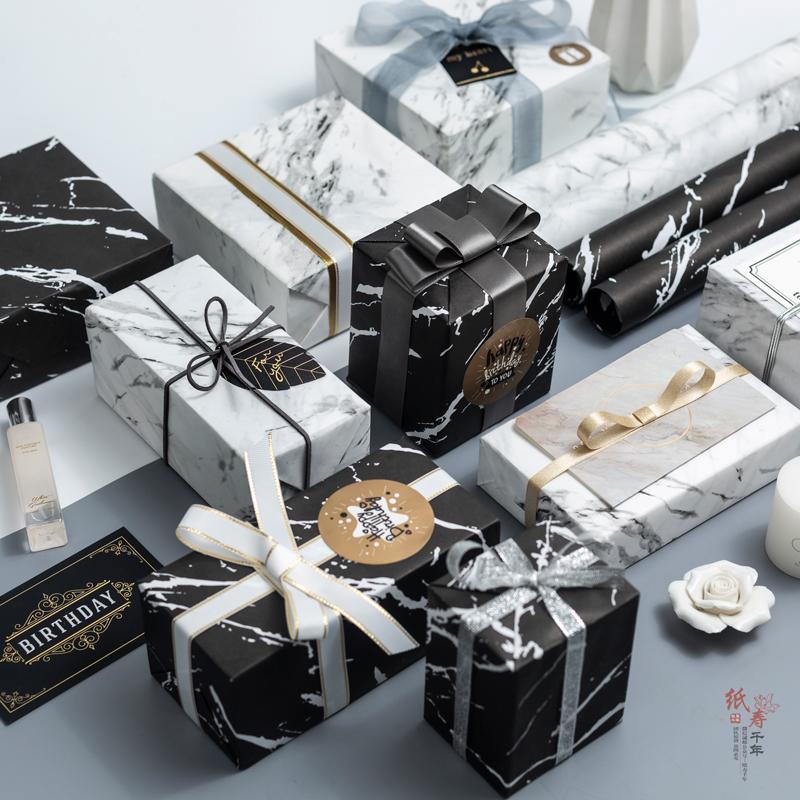 礼物包装纸大理石纹礼盒纸520包装盒手工礼品纸生日ins北欧礼纸