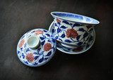 Long Objects Blue and White Glaze Red Wrapped Lotus Bowls Jingdezhen Hand-painted Antique Ceramic Tea Sets Three Bowls