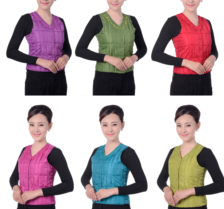 Middle-aged and old women's cotton vest warm clothing vest silk winter vest mother outside wearing