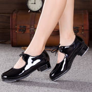 Men's and women's children's tap dance shoes bright leather women's adult black patent leather lace-up dance shoes dance shoes