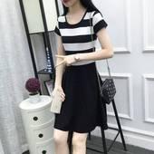 修身 显瘦韩版 百搭裙子 女装 新款 短袖 连衣裙黑白条纹中长款 2019夏装