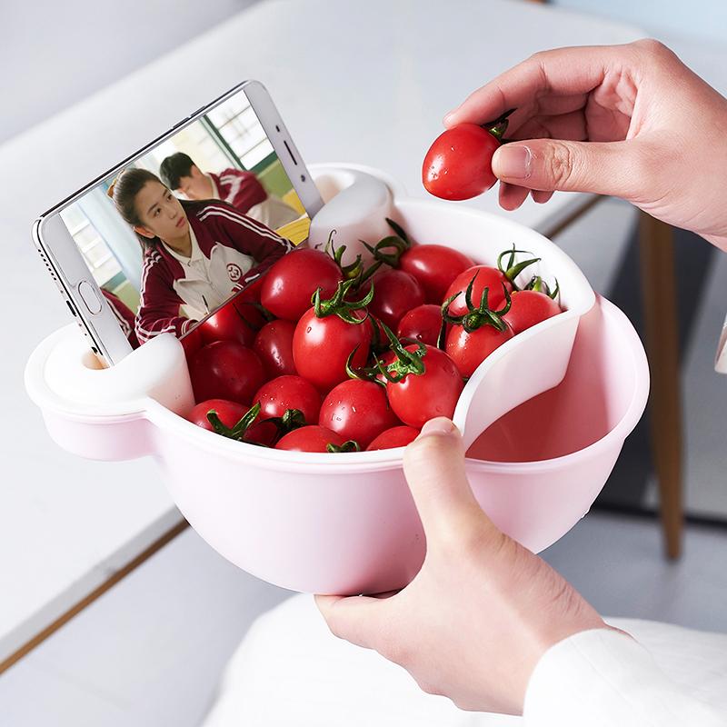 创意双层小熊懒人果盘瓜子盘镂空沥水篮糖果盒水果盘塑料可放手机