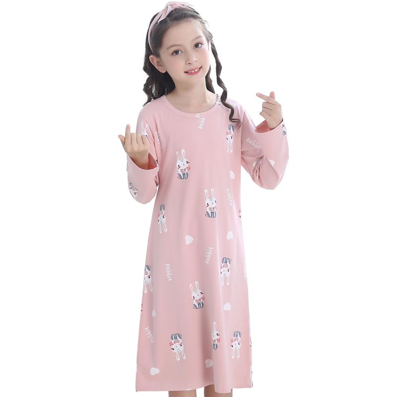 女童睡裙儿童睡衣女春秋纯棉长袖夏宝宝亲子母女公主大童裙子薄款