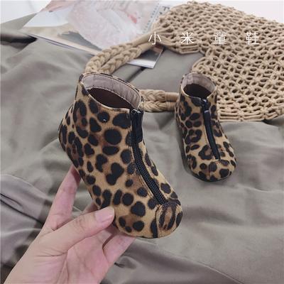 韩版儿童前拉链豹纹短靴男童女童靴子宝宝鞋1-3-5-6岁 秋冬款童鞋
