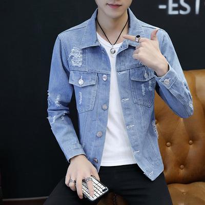 秋季薄款牛仔夹克男士韩版修身青少年棒球服男潮流男装春秋款外套