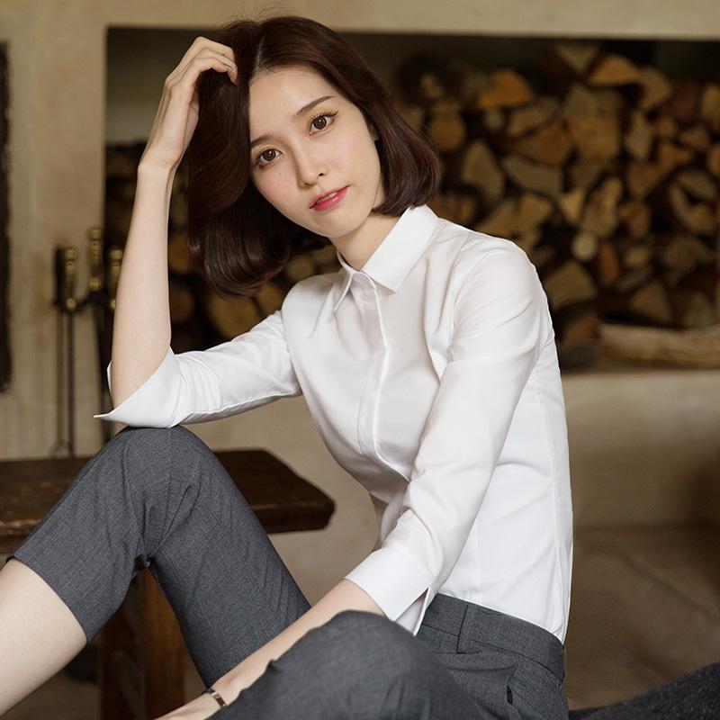 白色七分袖衬衣女职业2019春韩版新款寸衫工装长袖工作服中袖衬衫