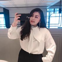 vogana戛纳家大码女装衬衫女长袖心机设计感小众衬衣韩版宽松显瘦