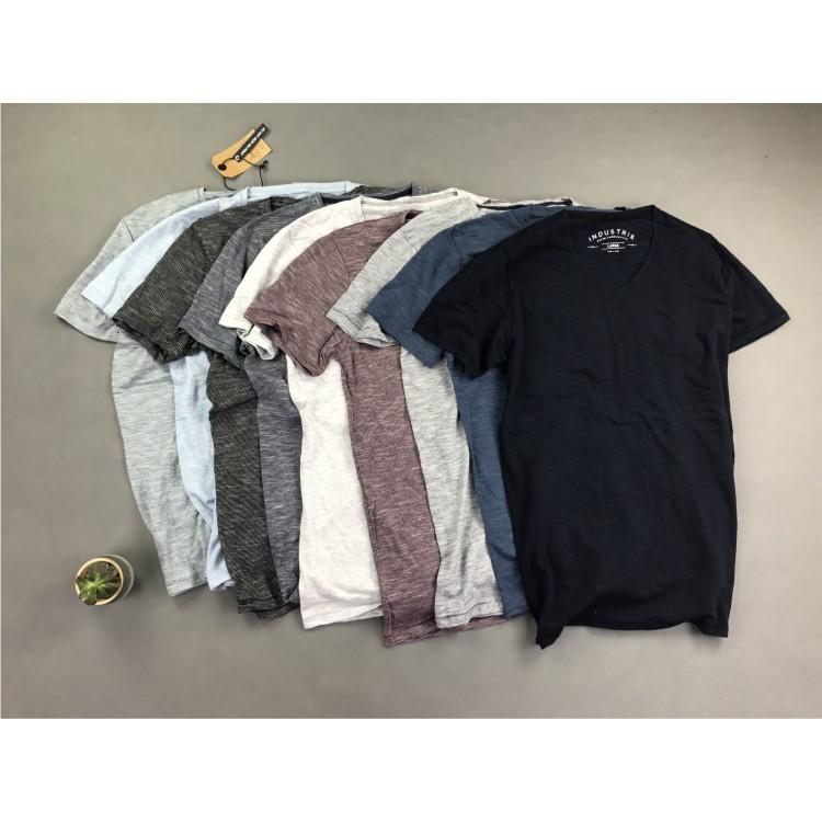 男士V领条纹短袖T恤 纯棉简约休闲时尚 夏季宽松加大码半袖体恤