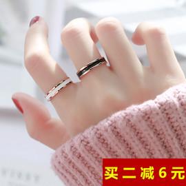 时尚玫瑰金窄版网红黑白陶瓷戒指 男女情侣指环对戒尾戒食指饰品图片