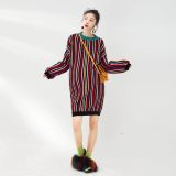 LAMMA French design Bajia stripes 2018 autumn and winter new maternity dress long sweater warm loose knitting