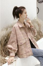 毛呢外套女2018秋冬新款韩版短款百搭学生直筒格纹网红长袖小个子图片
