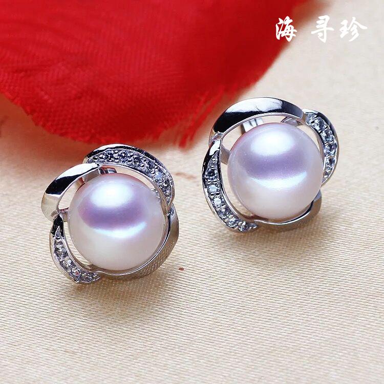 天然淡水珍珠耳钉耳环 时尚镶钻花朵925银送女友送礼简约大方耳饰