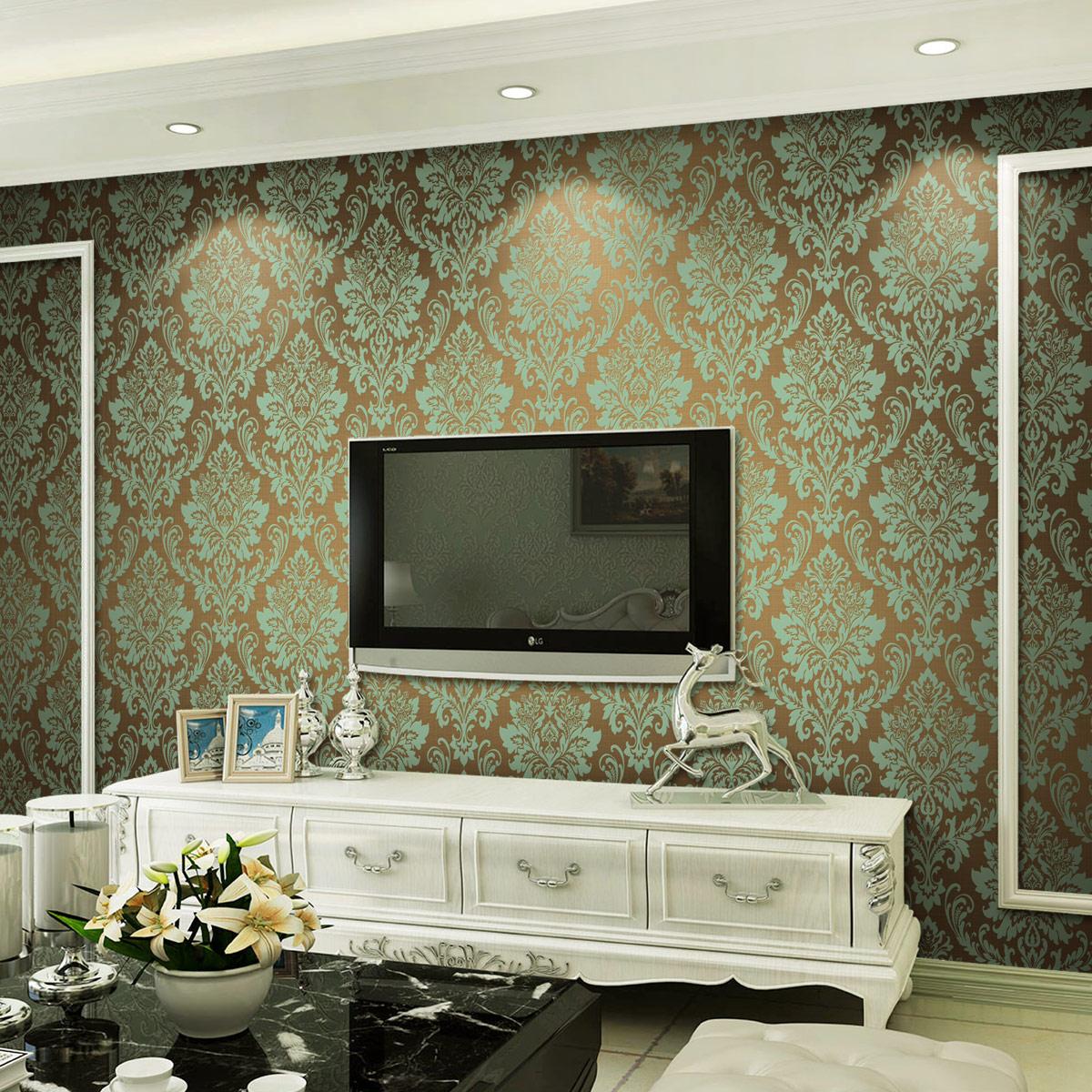 家有喜饰 3D立体欧式壁纸天鹅绒植绒 欧式墙纸 客厅电视背景墙