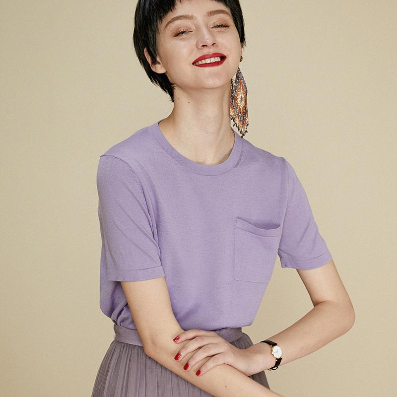涉过忘川新款百搭简约纯色纯棉宽松圆领口袋短袖T恤女