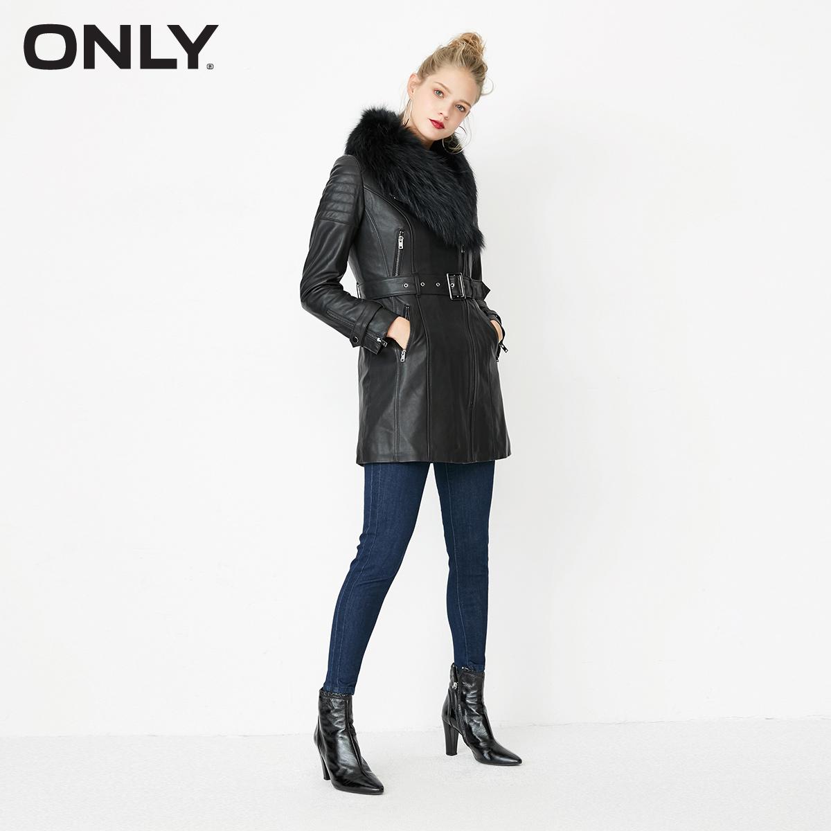 ONLY秋冬新款绵羊皮修身长款夹棉皮衣女|117428506