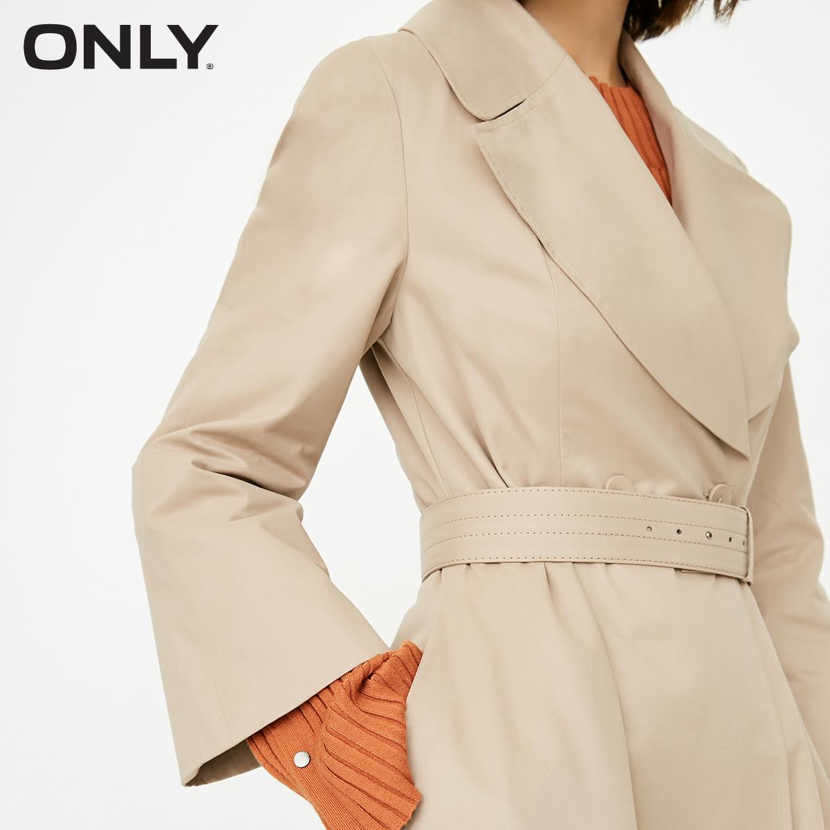 ONLY冬季新款修身高腰风衣外套中长款女|117336557