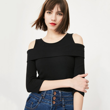 ONLY新款修身圆领露肩七分袖T恤女|117130506