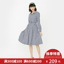 ONLY早春高腰长袖条纹衬衫连衣裙女-117107521