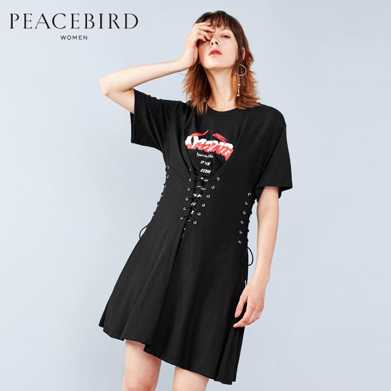 高腰绑带连身裙