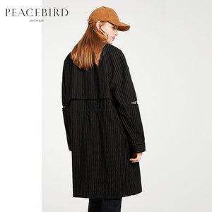 【商场同款】太平鸟女装2018春装新款棒球式条纹外套风衣女中长款