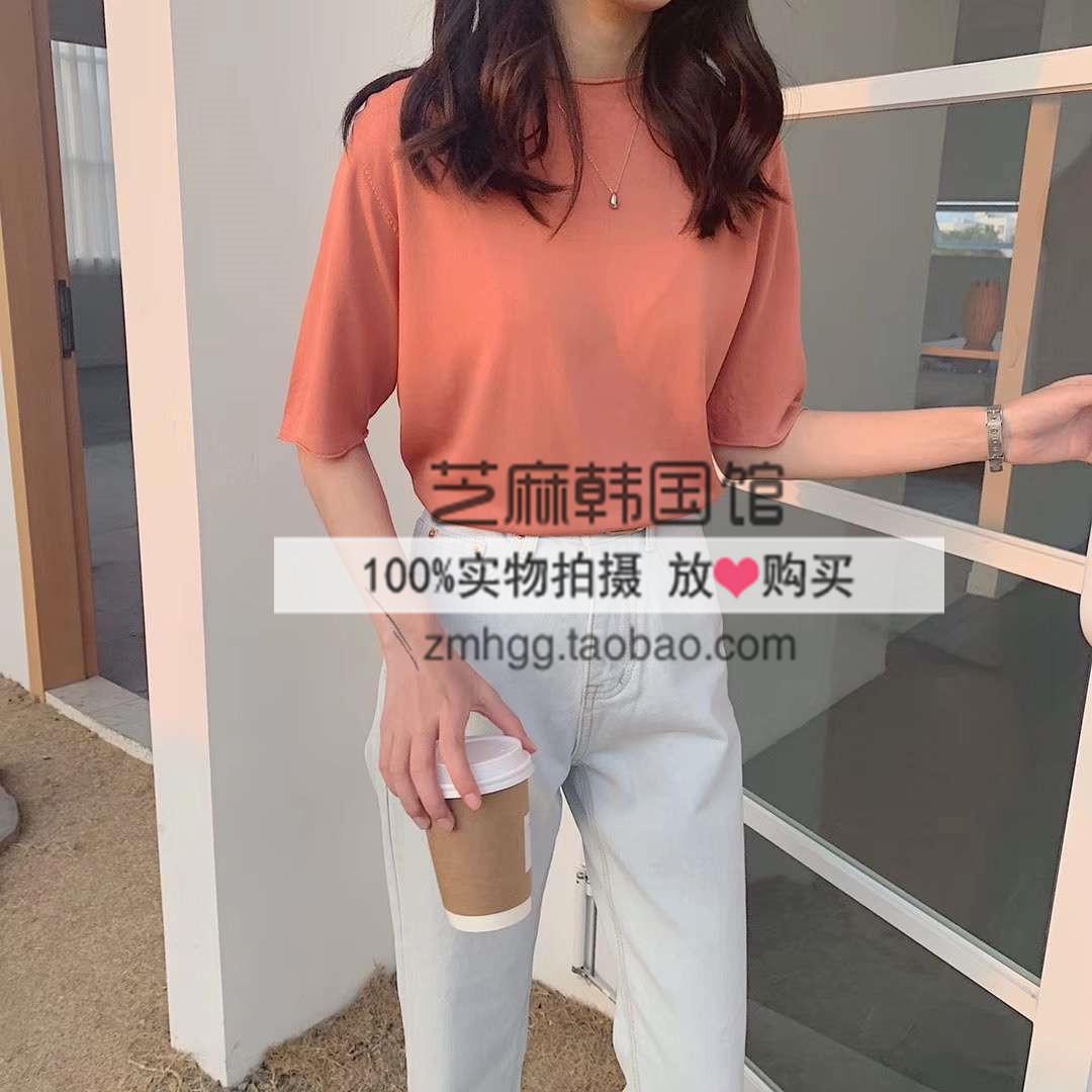 【芝麻馆】韩国东大门春夏基础款多色圆领短袖纯色T恤上衣女百搭