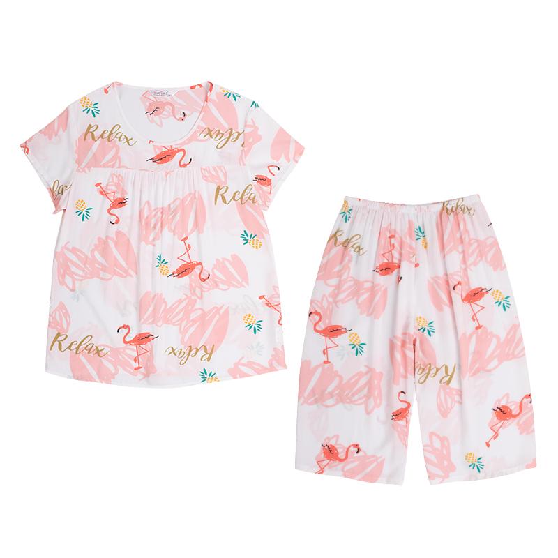 睡衣女夏季套装短袖两件套纯棉绸大码胖mm200斤薄款人造棉家居服