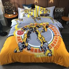 Pure Cotton Thickened Wool Bumblebee Three/Four Cartoon Quilt Set Robot Bedding for Boys and Children