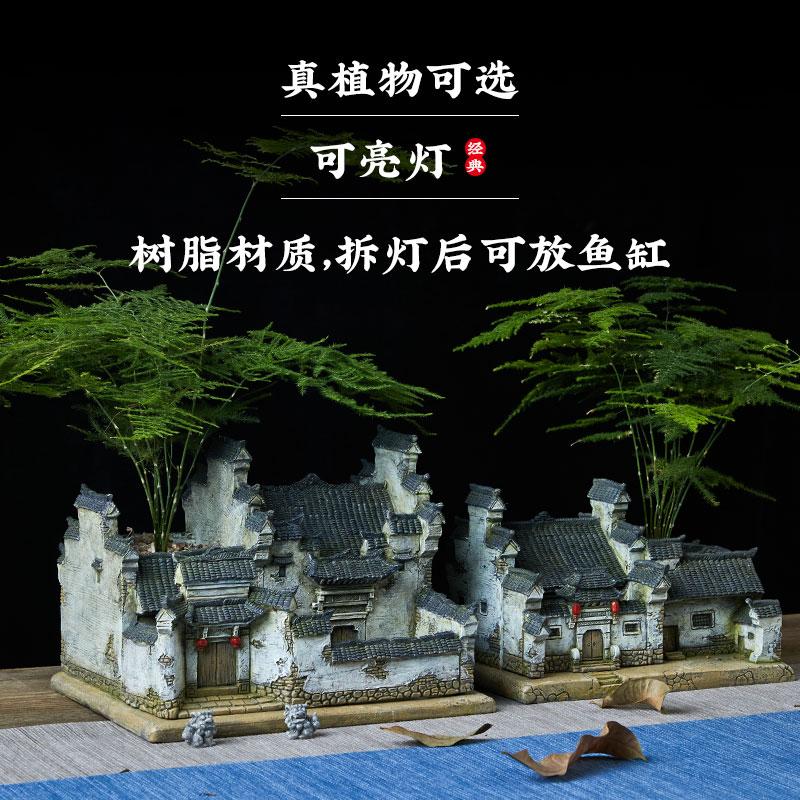 正月娇中式禅意花盆造景,送朋友创意复古礼物