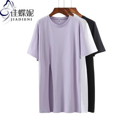 夏季韩版圆领宽松中长款短袖体恤打底衫纯棉开叉女装T恤上衣大码
