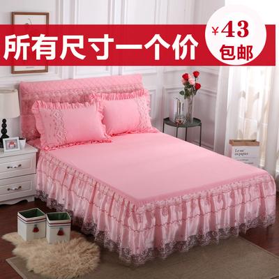 2018新款欧式夏季蕾丝纱床裙式单件床罩床套花边床单席梦思保护套