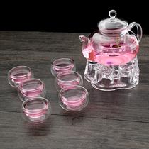 整套耐热玻璃茶壶加厚茶具套装花茶壶可加热耐高温过滤透明泡茶壶