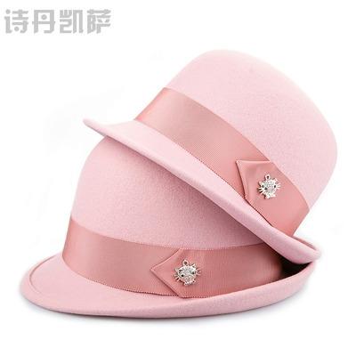 诗丹凯萨2018毛呢帽子女秋冬新品圆顶帽英伦羊毛呢帽亲子母女帽