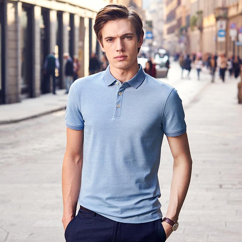 布先生 短袖t恤polo衫男装新款夏装中年商务休闲翻领上衣服体桖