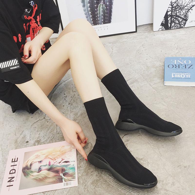 弹力短靴女2019夏季新款厚底增高显瘦针织中筒袜子女靴超火的鞋子