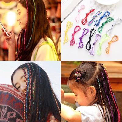 韩国头绳编发彩绳绑头发彩带彩色发绳藏辫子编织线长发带发饰头饰