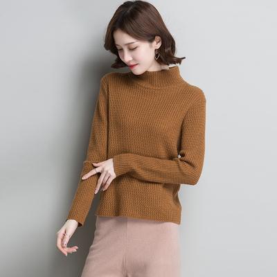 女款羊毛衫女2018新款高领打底衫女长袖麻花编织毛衣女套头秋冬款