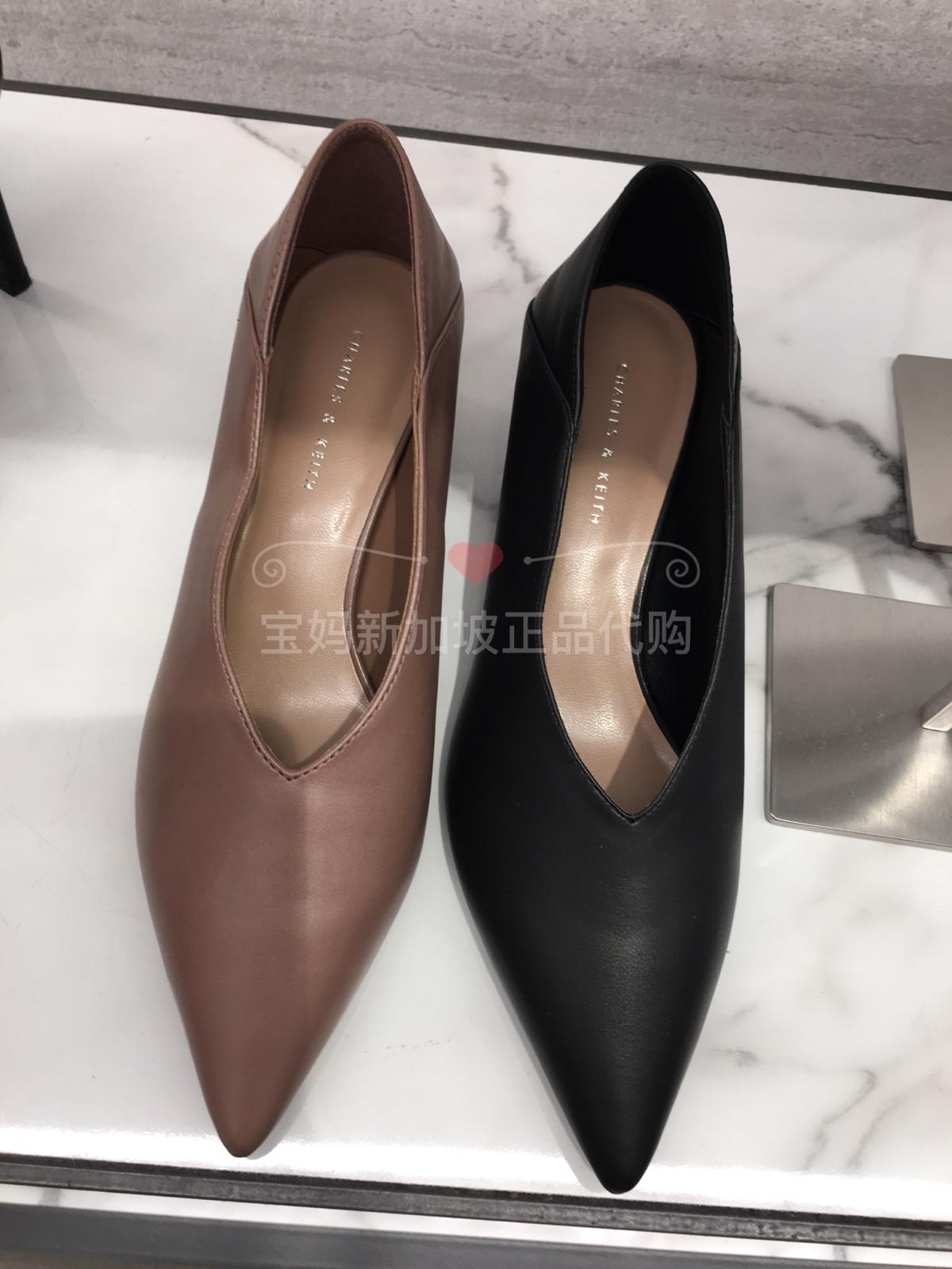 新加坡代CHARLES&KEITH单鞋女CK1-60390314纯色v口中跟奶奶鞋
