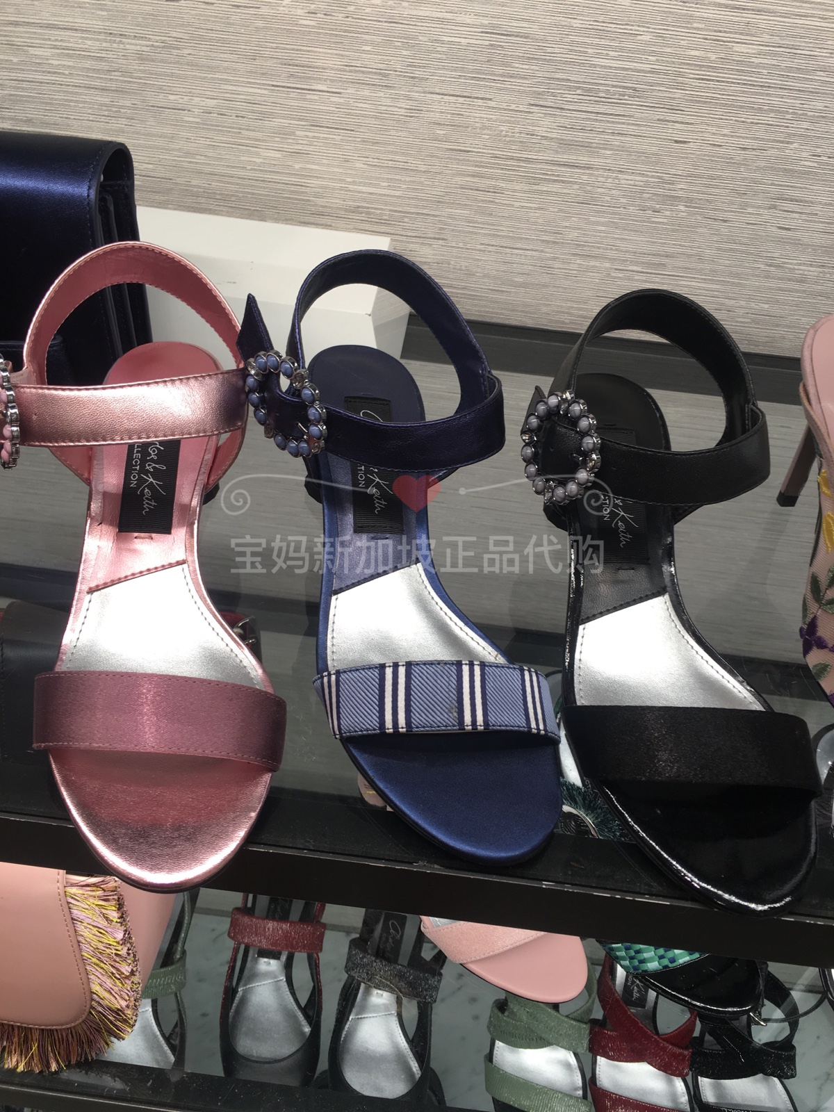 CHARLES&KEITH凉鞋女SL1-60900008半宝石圆环一字带中跟凉鞋