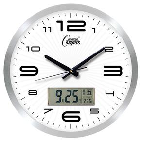 康巴丝日历温度金属电波钟静音创意客厅挂钟夜光钟表多款钟面包邮