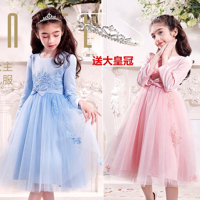 女童连衣裙秋冬女孩韩版裙子13-15岁儿童长袖公主裙中大童礼服12