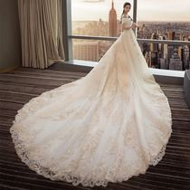 Rent a one-word shoulder v-neck wedding dress 2018 new bride Long tow tail luxury qi Princess Skinny