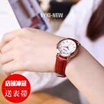 正品红色手表女款时尚百搭真皮带石英表学生防水简约女表2018新款