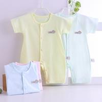 婴儿连体衣短袖纯棉提花睡衣男女宝宝夏装哈衣薄款新生儿衣服夏季