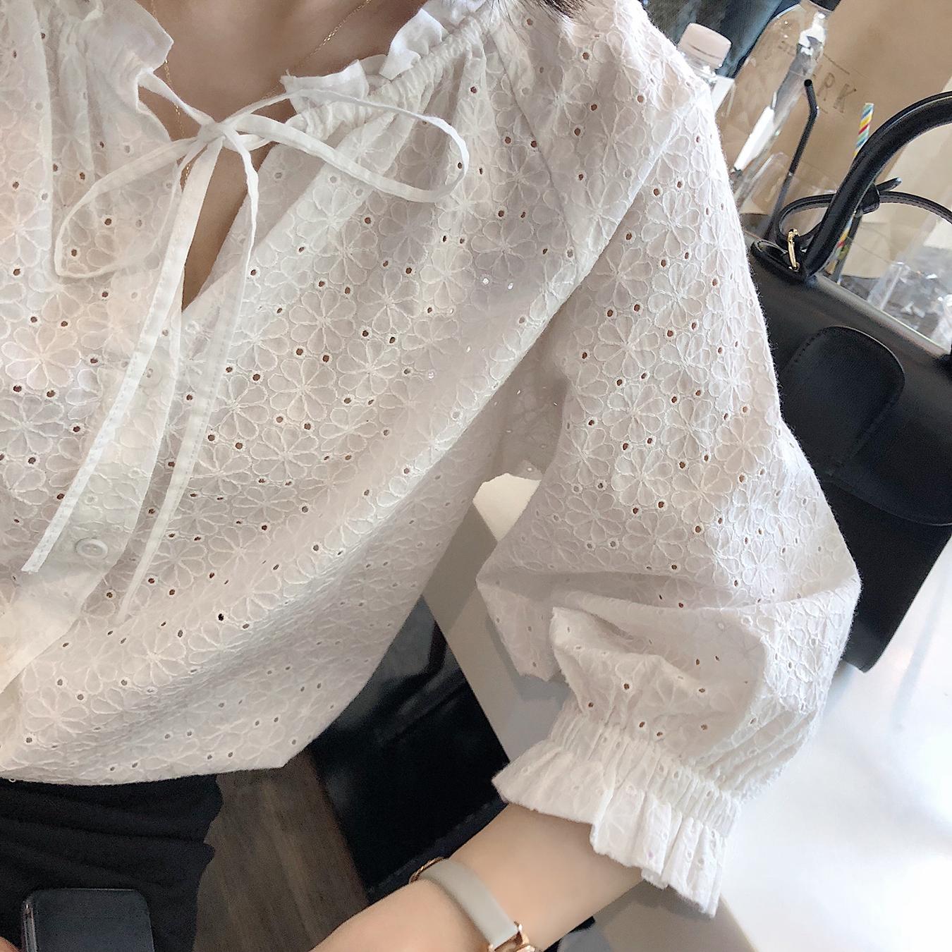白衬衫圆领系带