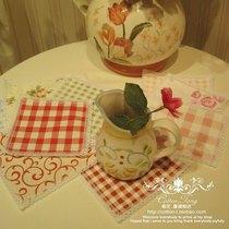 布艺杯垫 乡村田园蕾丝方形格子杯垫  吸水隔热防滑创意茶杯垫子