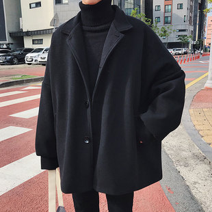 潮流休闲外套学生冬装 黑色毛呢大衣韩版 风衣宽松男士 2018秋冬新款