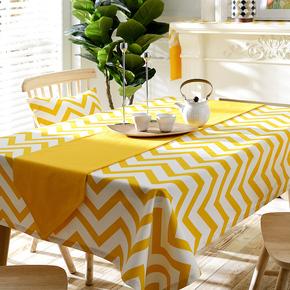 棉麻桌布布艺北欧地中海文艺简约现代条纹茶几盖布餐桌垫圆桌定制