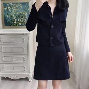 010901 玉米家臻品推荐 高端纯羊绒短外套+半身裙轻奢2件套装女装
